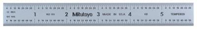 MITUTOYO Series 182 Steel Rulers, 6 in, 4R, Wide, Stainless Steel, Rigid