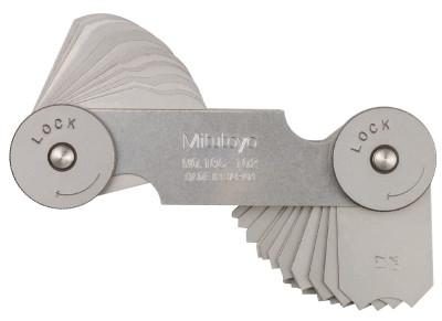 MITUTOYO Series 186 Radius Gage Set, 16 Pairs of Leaves, 17/64 in to 1/2 in by 64ths