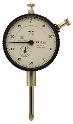 MITUTOYO Series 2 Standard Dial Indicators, 0-50-0 Dial, 1 in Range, 0.1 Range/Revolution