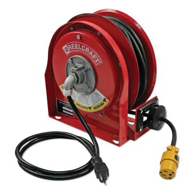 REELCRAFT 12/3 x 30ft Compact Power Cord Reel, 15A Single GFCI