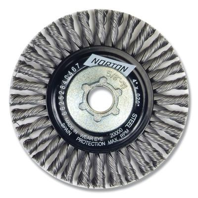 NORTON Wire Wheel Brushes, 4 in Dia., Carbon Steel, 20,000 rpm