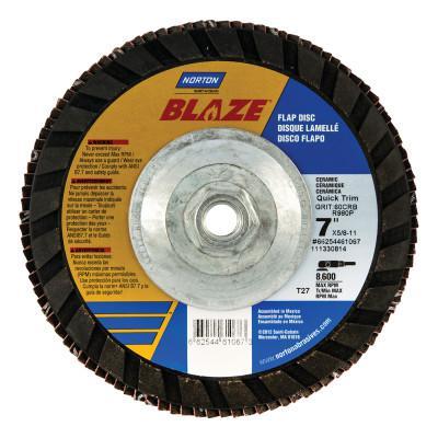 NORTON Abrasives Type 27 Quick-Trim Flap Discs, 7 in Dia., 80 Grit, 5/8 in Arbor