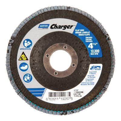 NORTON Type 29 Flap Discs, 4 1/2 in Dia., 80 Grit, 7/8 in, 13,000 rpm, Type 29