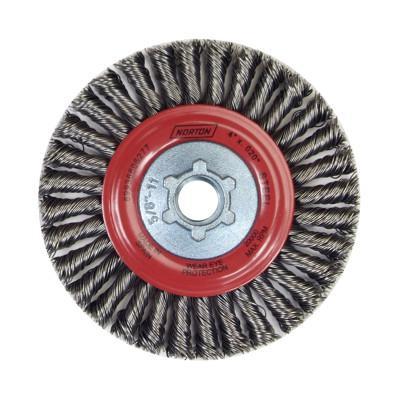 NORTON Wire Wheel Brushes, 4 in Dia. 4 in, Steel, 20,000 rpm
