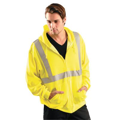 OCCUNOMIX Classic Hoodie Sweatshirt, Large, Yellow w/Silver Reflective Tape