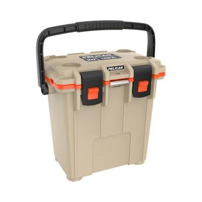 PELICAN 20QT Elite Coolers, 21.5 qt, 12.6 in x 18.8 in x 17.7 in, Tan/Orange