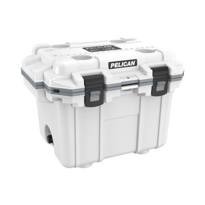 PELICAN 30QT Elite Coolers, 32.95 qt, 19 inx 25.3 in x 18.5 in, White/Gray
