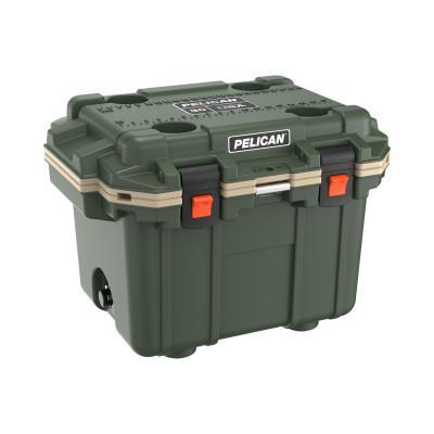 PELICAN 30QT Elite Coolers, 32.95 qt, 19 inx 25.3 in x 18.5 in, Green/Tan
