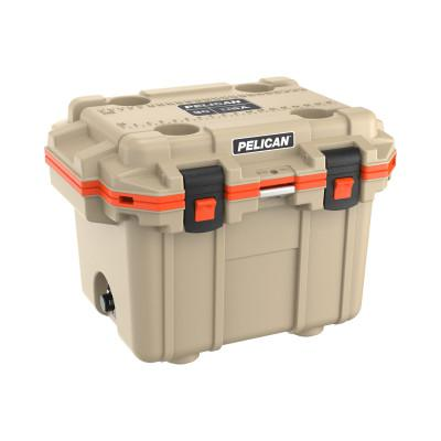 PELICAN 30QT Elite Coolers, 32.95 qt, 19 inx 25.3 in x 18.5 in, Tan/Orange