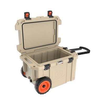 PELICAN 45QW Elite Wheeled Coolers, 45 qt, 20 in x 29.66 in x 19.25 in, Tan