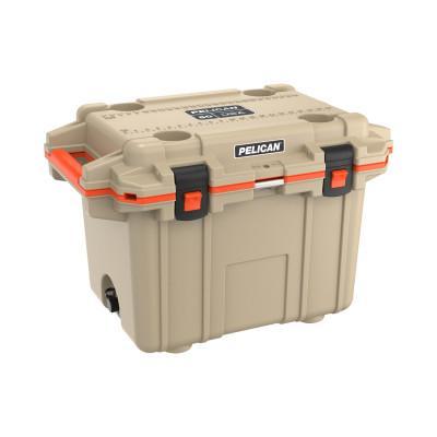 PELICAN 50QT Elite Coolers, 52.87 qt, 20.3 in x 30 in x 20.4 in, Tan/Orange