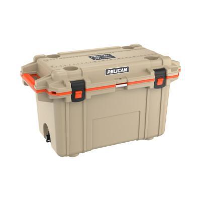 PELICAN 70QT Elite Coolers, 72.42 qt, 20.3 in x 36 in x 21 in, Tan/Orange