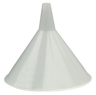 PLEWS Plastic Funnel, 48 oz Capacity, 8 in dia, 1 in OD Tip