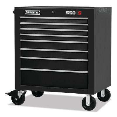PROTO 550S Series Rolling Cabinet, 34 in, 8-Drawer, Dual Black