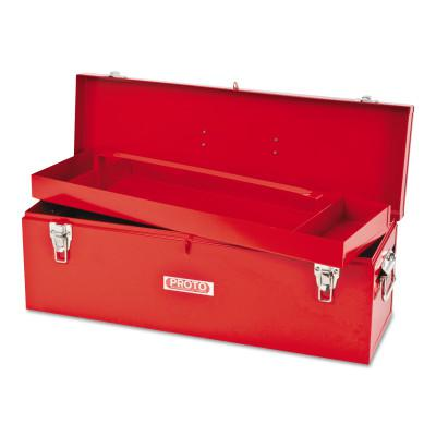 PROTO General Purpose Tool Box, Double Latch, 26 in x 8 1/2 in x 9 1/2 in, Steel, Red