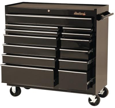 BLACKHAWK 13 Drawer Roller Cabinets, 41 in x 18 in x 41 1/2 in, 13 Drawers, Black