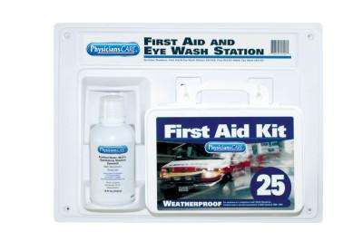 FIRST AID ONLY First Aid Kit and Eye Wash Station, 16 oz, 25 Person