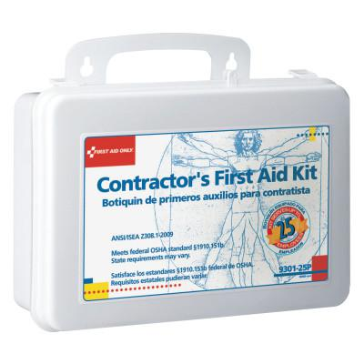 FIRST AID ONLY Contractor's First Aid Kits, 25 Person, Plastic, Portable; Wall Mounted