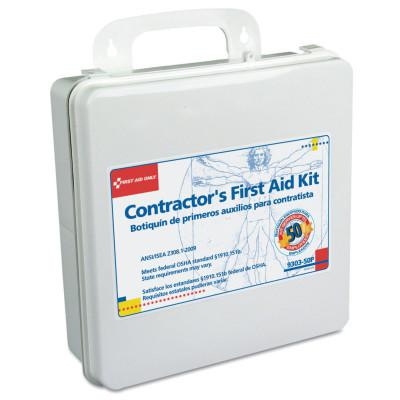 FIRST AID ONLY Contractor's First Aid Kits, 50 Person, Plastic, Portable; Wall Mounted