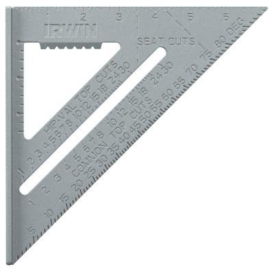 IRWIN Aluminum Rafter Squares, 12 in, 2 Scales, Aluminum