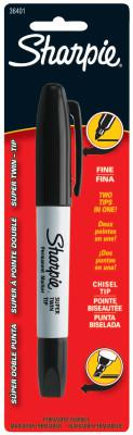 SHARPIE Super Sharpie Twin Tip Permanent Markers, Black, Fine; Chisel