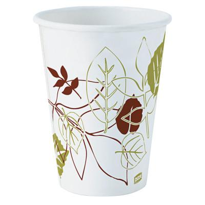 DIXIE Pathways Hot Paper Cups, 12 oz, White/Green/Brown, 50/Sleeve