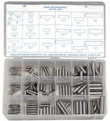 PRECISION BRAND Dowel Pin Assortments, Alloy Steel, 176 per set