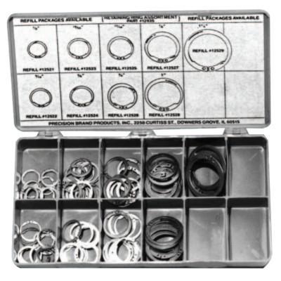 PRECISION BRAND Retaining Ring Assortments, Spring Steel, 140 per set