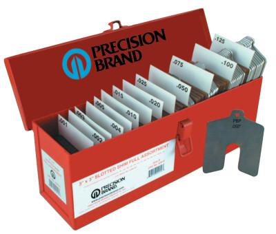 "PRECISION BRAND Slotted Shim Assortment Kits, 4 X 4 in, .001-.075"" Thick, Shop Asst"