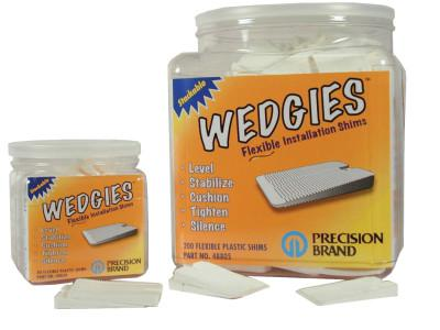 PRECISION BRAND Wedgies Installation Shims, Plastic, Flexible, White, 200 Pieces