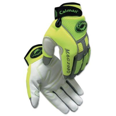 CAIMAN White Goat Grain Leather Multi-Activity Gloves, X-Large, Hi-Viz Lime Green