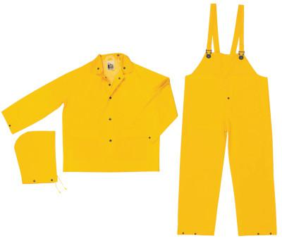 RIVER CITY Three-Piece Rain Suit, Jacket/Hood/Bib Pants, 0.35 mm PVC/Poly, Yellow, 2X-Large