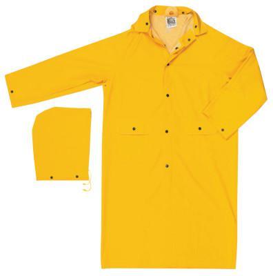 RIVER CITY Classic Rain Coat, Detachable Hood, 0.35 mm PVC/Polyester, Yellow, 49 in Large