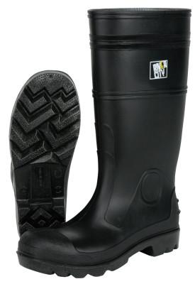 RIVER CITY Plain Toe Boots, Size 10, 16 in H, PVC, Black