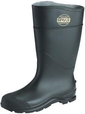 SERVUS CT Economy Knee Boots, Steel Toe, Size 9, 16 in H, PVC, Black