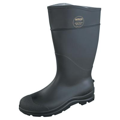 SERVUS CT Economy Knee Boots, Steel Toe, Size 12, 16 in H, PVC, Black