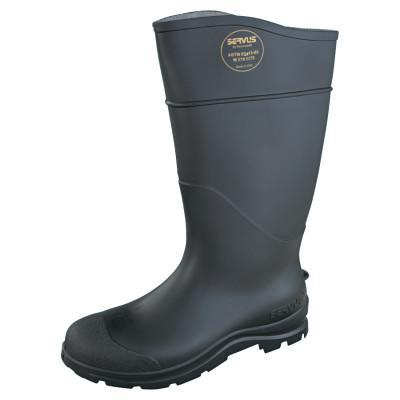 SERVUS CT Economy Knee Boots, Steel Toe, Size 8, 16 in H, PVC, Black