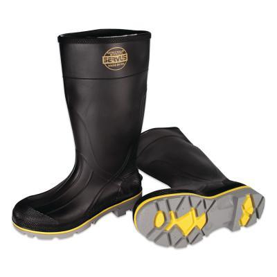 SERVUS XTP Knee Boots, Size 13, PVC, Black/Yellow/Gray