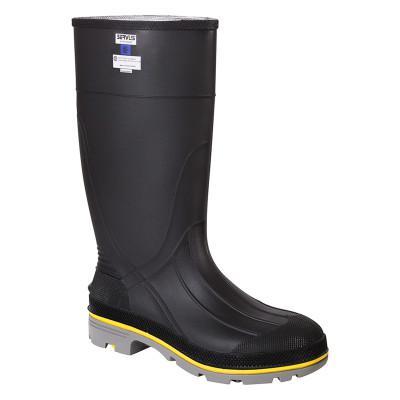SERVUS XTP Knee Boots, Size 14, PVC, Black/Yellow/Gray
