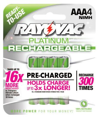RAYOVAC Platinum Pre-Charged Rechargeable Batteries, NiMH, AAA