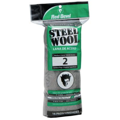 RED DEVIL Steel Wool, Medium Course, #2
