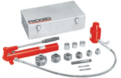 RIDGID Hydraulic Knockout Sets, 2 in, Hand Pump, Draw Bolts, Draw Bar, Hose