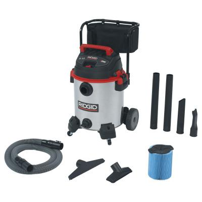 RIDGID Stainless Steel Wet/Dry Vac with Cart Model 1610RV, 16 gal, 6.5 hp
