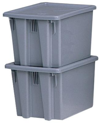 RUBBERMAID COMMERCIAL Stack & Nest Palletote Boxes, 1.3 cu ft, 15 1/2 in x 19 1/2 in x 10 in, Gray