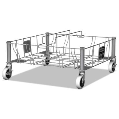 RUBBERMAID COMMERCIAL Slim Jim Dollies, 200 lb Capacity, 29.6 in W x 20 in L, Silver