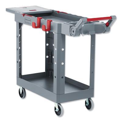 RUBBERMAID COMMERCIAL Heavy Duty Adaptable Utility Cart, 2 Shelves, 25.2 in x 51.5 in x 36 in, Black