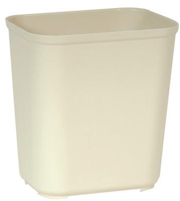 RUBBERMAID COMMERCIAL Fire Resistant Wastebaskets, 28 qt, Fiberglass, Beige