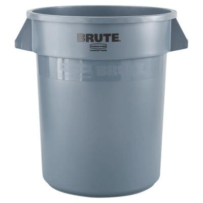 RUBBERMAID COMMERCIAL Brute Round Containers, 20 gal, Plastic, Gray