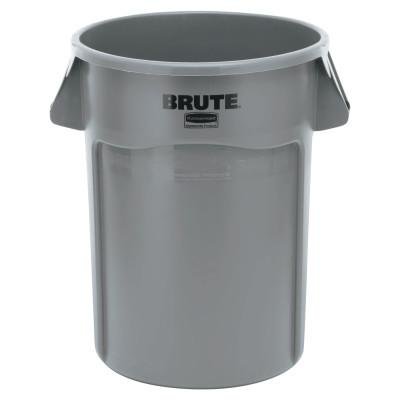 RUBBERMAID COMMERCIAL Brute Round Containers, 44 gal, Polyethylene, Gray