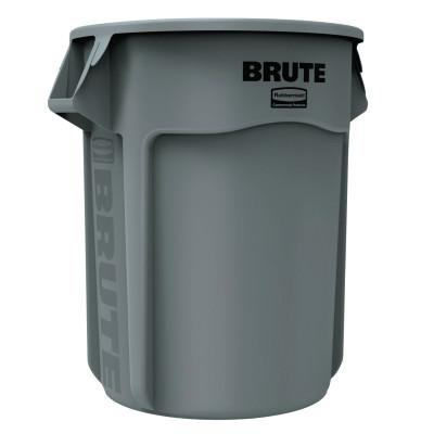 RUBBERMAID COMMERCIAL Brute Round Containers, 55 gal, Plastic, Gray